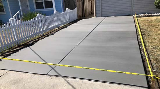 Poured concrete driveway in Fremont California