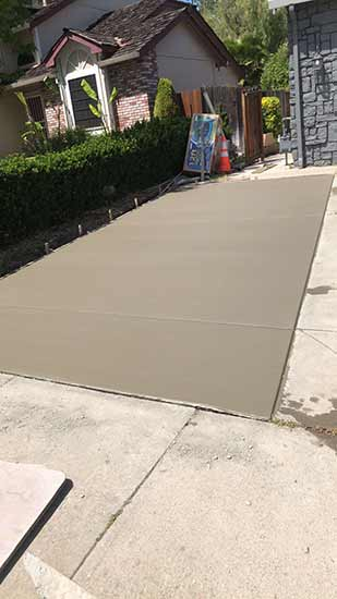 New concrete portion of driveway in Hayward California