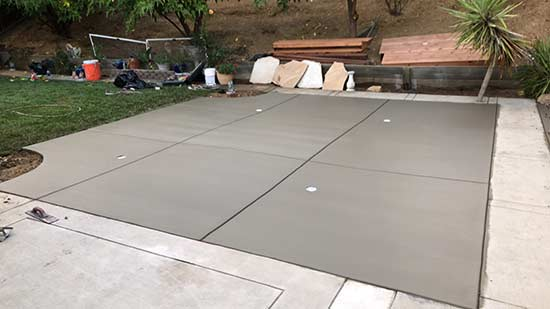Concrete Slab in backyard of Fremont California home